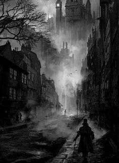The Fleet Street Phantom- Hallowe'en 1684 A sooty, foggy night in Victorian London. great atmosphere for horror and vampires - Phuoc Quan: Black and White painting Fleet Street, Ville Steampunk, Steampunk City, Gothic Steampunk, Art Noir, Victorian London, Victorian Street, London 1800, Victorian Vampire