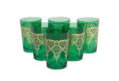 S/6 Punto Moroccan Glasses, Green on OneKingsLane.com