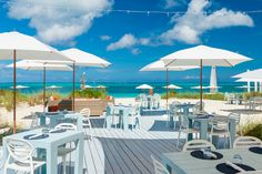 The beach deck on Grace Bay beach, perfect for lunch and afternoon cocktails.
