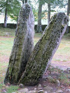 Paired Standing Stone at Clava Cairns, near Culloden. Apparently inspiration for the fictional standing stones in Diana Gabaldon's Outlander series. Back to 1743