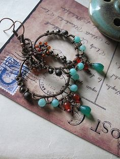 Wire Wrapped Bohemian Copper Hoops on Etsy, 114,98zł