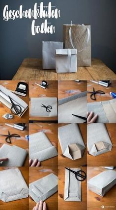 DIY gift bags fold step by step - easy gift packaging in ., DIY gift bags fold step by step - simple gift packaging in any size Source by meinadventskalender diy # gift bags. Creative Gift Wrapping, Creative Gifts, Wrapping Gifts, Wrapping Ideas, Wrapping Papers, Simple Gifts, Easy Gifts, Diy Cadeau Noel, Deco Table Noel