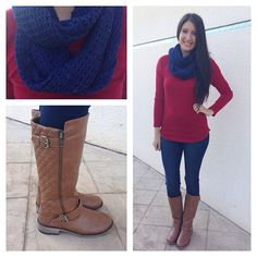 Berry and navy outfit with light brown boots