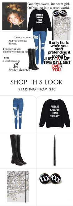 """""""it only hurts when u pretend it dousnt"""" by secretly-dark-lonewolf-girl ❤ liked on Polyvore featuring Topshop, Love Quotes Scarves, RED Valentino, MAC Cosmetics and Go Stationery"""