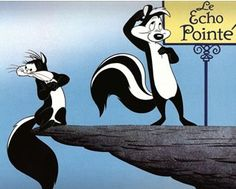 """Pepe Le Pew is an anthropomorphic, French skunk in the Looney Tunes continuity who is always on the lookout for romance; he usually finds it with a female cat named """"Penelope,"""" but she tries to get away from him due to his disturbingly foul smell. Pepe Le Pew, Cartoon Photo, Cartoon Tv, Vintage Cartoon, Looney Tunes Characters, Looney Tunes Cartoons, Best Cartoons Ever, Cool Cartoons, Jim Henson"""