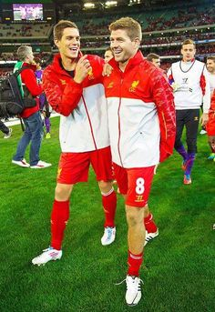 Steven Gerrard and Daniel Agger Ynwa Liverpool, Liverpool Football Club, Best Football Team, Football Players, Liverpool You'll Never Walk Alone, Stevie G, France Football, This Is Anfield, Captain Fantastic