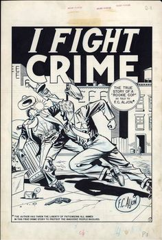 Original splash panel art by Johnny Craig and Al Feldstein for Crime patrol #13, August 1949.