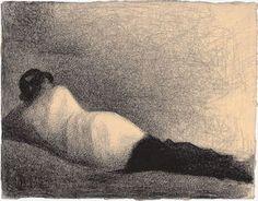 L'homme couché (étude pour Une baignade), Asnières by Georges Seurat