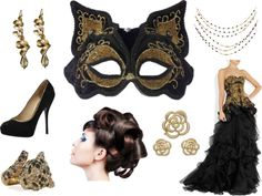 """Black and Gold Evening Gown Masquerade"" by costumelicious on Polyvore, inspired by one of our popular cat masquerade masks    #Masquerade"