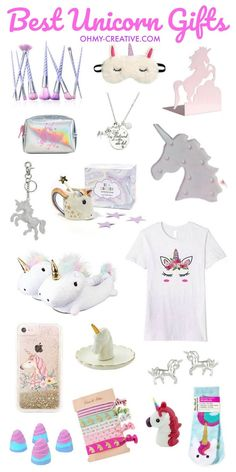 These Unicorn Gifts make a fun whimsical gift for the holidays or birthday gift. Some of the best unicorn gifts are reasonably priced for any budget. # Gift Ideas for girls Best Unicorn Gifts - Oh My Creative Diy Unicorn, Unicorn Outfit, Unicorn Crafts, Unicorn Shirt, Cute Unicorn, Unicorn Clothes, Rainbow Unicorn, Beautiful Unicorn, Best Gifts For Girls