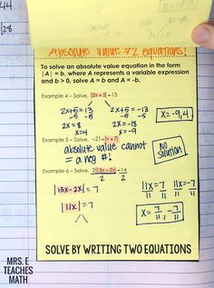 absolute value equations flipbook and interactive notebook pages for algebra Algebra Interactive Notebooks, Maths Algebra, Math Notebooks, Math Multiplication, Math Lesson Plans, Math Lessons, Absolute Value Equations, Ninth Grade, Seventh Grade