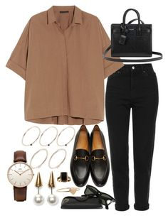 """Sin título #2185"" by alx97 ❤ liked on Polyvore featuring Topshop, Gucci, Donna Karan, Yves Saint Laurent, Ray-Ban, Fallon, Daniel Wellington, Pieces and Jennifer Meyer Jewelry"
