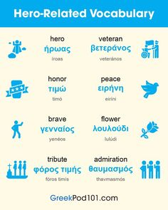 Hero-related vocabulary in Greek Bulgarian Language, Finnish Language, Greek Language, Korean Language, Greek Phrases, Greek Words, Brave, French Verbs, French Grammar