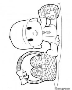 Printable coloring pages cartoonPocoyo and his easter egg - Printable Coloring Pages For Kids