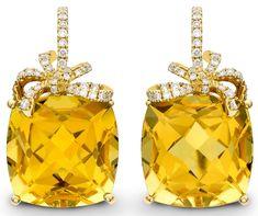 Kiki McDonough citrine and diamond Cushion Bow earrings. Price from £2,600.