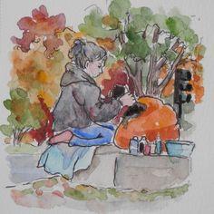 Watercolors by Joan 2: #inftober #inktober2015 - Day 10 & Pumpkinfest