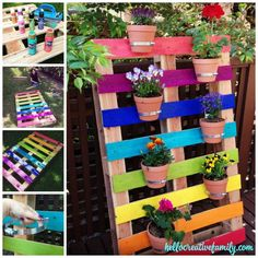Create a bright & colorful upcycled rainbow pallet planter project with these simple instructions from Hello Creative Family. A great family weekend project that kids will love. Vertical Pallet Garden, Herb Garden Pallet, Pallets Garden, Pallet Gardening, Container Gardening, Gardening Quotes, Organic Gardening, Diy Garden Projects, Diy Pallet Projects