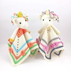 Olivia the Unicorn Lovey crochet pattern - Allcrochetpatterns.net Crochet Security Blanket, Crochet Lovey, Baby Security Blanket, Crochet Unicorn, Unicorn Pattern, Lovey Blanket, Newborn Crochet, Crochet Dolls, Blanket Crochet