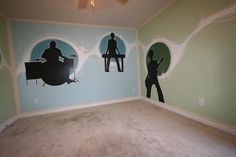 Make some music! This is a great music room drum room or play room. Kids room makeover