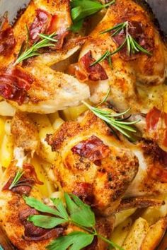 "Baked Chicken, Potato, and Bacon Casserole | ""How can you easily put an new twist on the classic casserole that combines juicy chicken and tender potatoes? By crumbling a crispy delight known as bacon on top."" #dinnerideas #dinnerrecipes #familydinnerideas #casserole #casserolerecipes #hotdish"