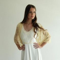 Etsy: Bridal shrug,  Champagne lace. 4 options shawl- shrug, shawl, twist and scarf. Lace shawl for bride or bridesmaid