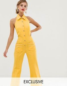 Buy Dusty Daze flared button front retro jumpsuit at ASOS. Get the latest trends with ASOS now. Embellished Jumpsuit, Sequin Jumpsuit, Off The Shoulder Playsuit, Yellow Jumpsuit, Tailored Jumpsuit, Smock Dress, Playsuits, Jumpsuits For Women, Clothes For Women
