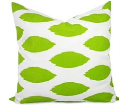 Green Pillow cover Chipper Pillows Lime by TwistedBobbinDesigns