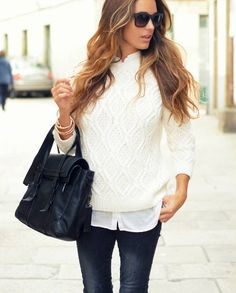 Winter white: Winter white sweater with white button down oxford, dark skinnies, and black bag. Nice.
