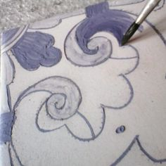 #painting real #tiles in the antique #technic. #reproduction of a XVII century #portuguese tiles
