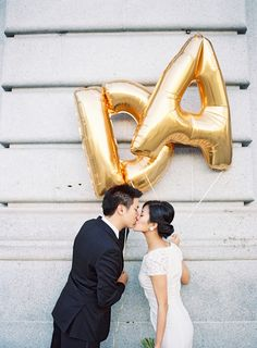 Couple with initial balloons