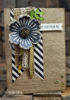 black & Kraft punched flower over banner & ribbon works with lots of other colors, hmmmmm
