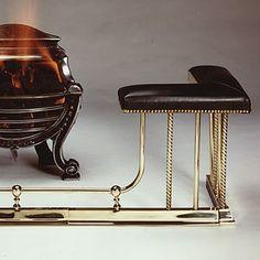 Antique english brass club fender fireplace seat * bench 1890 ...