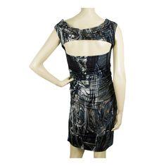 Helmut Lang Blue Gray Sleeveless Draped Open Back Bodycon Mini Dress size 10