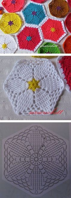 Flower hexagon, free pattern diagram from Saracrochett . . . . ღTrish W ~ http://www.pinterest.com/trishw/ . . . . #crochet #motif
