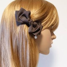 Handmade Grosgrain Fabric Layer Bow French Hair Barrettes Free