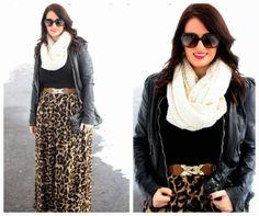 Leopard Maxi Skirt, Brown Belt, Black Leather Jacket, Cream Scarf
