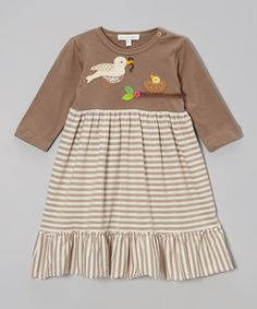 Look at this Brown Stripe Mama Bird Dress - Infant