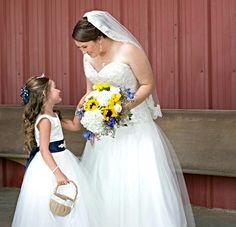 Bride with flower girl. Texas flower girl.