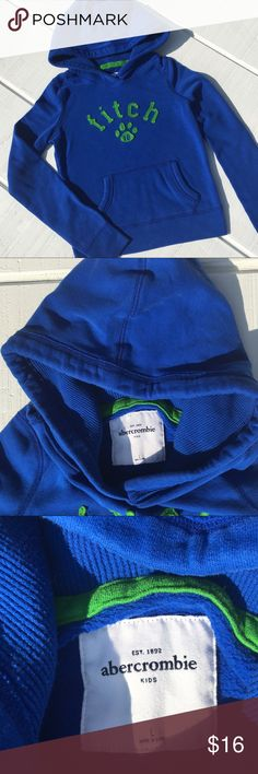 Girls Abercrombie Hoodie Beautiful royal blue Abercrombie girls hoodie size L (8).  Soft and comfortable!  There is a small bleach mark on the hood (last picture), can't be seen when the hood is down.  Otherwise, in EXCELLENT condition!  From a smoke and pet and smoke free home! Abercombie Kids Shirts & Tops Sweatshirts & Hoodies