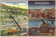 Vintage linen dual-view postcard showing the Monongahela Incline railway on Mt. Washington and Pittsburgh's business section including a river and bridge, Pennsylvania.