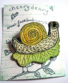 I checked out Snail on Leaf Illustrated Brooch on Lish, £11.50