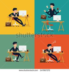 Vector modern flat character design on businessman at work | Funny office character for web sites applications business strategy marketing presentations with bored confident tired and meditating man