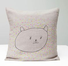 Children Pillow with bear  neon yellow, pink , blue, white dots // Hand printed on natural linen fabric //  Cushion , handmade pillow  cover