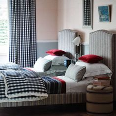 Essex Check Dark Navy is a neutral cotton fabric, which features a classic check design. Interior Decorating Styles, Home Decor Trends, Decorating Your Home, Boy Headboard, Headboards, Stripe Line Wallpaper, Interior Wallpaper, Relax, Check Fabric