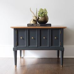 SOLD! This mid century modern cabinet table is available! I painted it with Annie Sloan graphite chalk paint. Message me if interested! Pick up in Northern VA, or local delivery. Swipe left to see the amazing top and interior, as well as the before! #greensprucedesigns