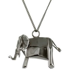 Origami Jewellery - Elephant Necklace Sterling Silver Gun Metal ($84) ❤ liked on Polyvore featuring jewelry, necklaces, elephant necklace, sterling silver elephant necklace, elephant jewellery, gun metal jewelry and sterling silver necklace