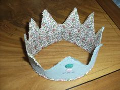 Splendid Felt and Liberty Fabric crown, button 'jewels' and embroidery detail