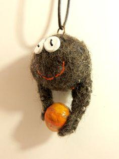 little wet felted monster pendant (No2)