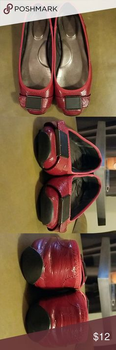Calvin Klein flats Red patent leather with black buckle (decoration only).  Very good shape except for small flaw in last pix.  True to size.  Bundle discount.  Offers welcome.  I ship with 24 hours! Calvin Klein Shoes Flats & Loafers