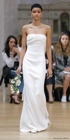 oscar de la renta spring 2018 bridal strapless straight across neckline ruched bodice simple clean elegant sheath column wedding dress ribbon back sweep train mv -- Oscar de la Renta Spring 2018 Wedding Dresses Simple Elegant Wedding Dress, Perfect Wedding Dress, Trendy Wedding, Elegant Dresses, Bridal Dresses, Bridesmaid Dresses, Bridal Fashion Week, Monique Lhuillier, Brides And Bridesmaids